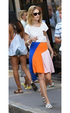 Natalia Vodianova,Christian Dior skirt, Essentiel shirt, TOMS shoes,On the street, St.-Tropez,July 21, 2013