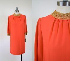 vintage 60s tangerine sheath dress