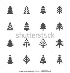 Christmas tree icons set - stock vector