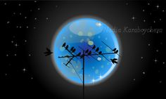 Blue Moon Night Vector Background
