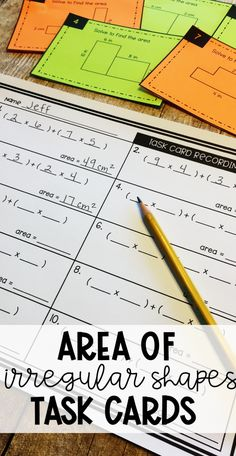 Area of Irregular Shapes Task Cards - fun and engaging practice for and grade students - add to your math centers, independent practice, or small group lessons Science Resources, Teacher Resources, Math Task Cards, 3rd Grade Math, Elementary Math, Classroom Activities, Math Lessons, Teaching Math, Math Centers