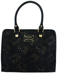 Loungefly Hello Kitty Black & Gold Bows Perforated Tote. Carry all of your stuff in this cute Hello Kitty Bag !. Top zip closure. Interior Zipper and Pouch Pockets. Fully Lined. Measurements: 13 x 10.5 x 5.5. Authentic Licensed Product , Manufactured by Loungefly.