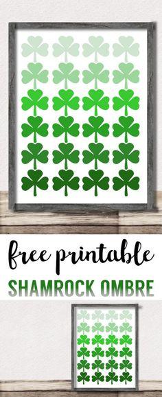Shamrock Pattern Printable St. Patrick's Day Decor. Easy St. Patty's Day decoration idea DIY wall art print. Ombre shamrock irish ideas. #papertraildesign #stpatricksday #irish #lucky