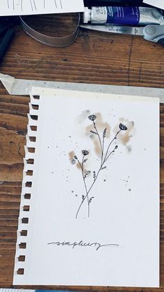Watercolor Art Lessons, Watercolor Techniques, Watercolor Paintings, Watercolour, Flower Drawing Images, Drawing Flowers, Art Drawings Sketches Simple, Aesthetic Drawing, Diy Canvas Art