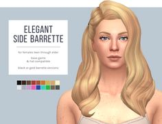 TESTED - WORKS! Sim 4 CC's - The Best: Elegant Side Barrette Hair by Femmeonamissionsims