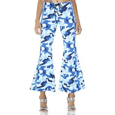 Camoflauge Blue Flare Pants ($45) ❤ liked on Polyvore featuring pants, camouflage pants, flared cropped pants, cropped trousers, blue trousers and flared trousers