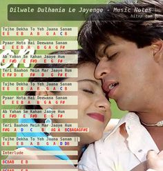 Piano, Keyboard, Violin, Flute notes, Guitar Tabs and Sheet Music of the Song Tujhe Dekha To Ye Jana Sanam from the 1995 Hindi movie Dilwale Dulhania Le Jayenge in Western and Indian Notations. Keyboard Notes For Songs, Piano Music Notes, Song Notes, Keyboard Lessons, Sheet Music Book, Bollywood Songs, Bollywood Saree, Bollywood Fashion, Song Hindi