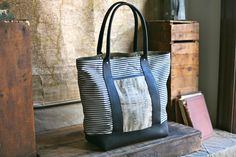 1950s era Ticking Fabric  Leather Carryall -  FORESTBOUND