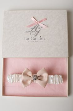 The Evelyn Garter from La Gartier Custom Garters. Perfect for the bride who loves pink and sparkle. Now available for purchase on the website at www.lagartier.com