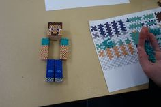 3D Perler bead Minecraft Steve - DIY