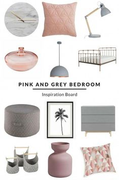 Pink and Grey Bedroom Inspiration Board. Love the grey and blush pink colour combo? This look combines some gorgeous Scandi style pieces with a modern and on-trend copper bed and accessories. Visit us to view more items and ideas from this collection. Blush Bedroom, Pink Bedroom Decor, Pink Bedrooms, Bedroom Colors, Blush Pink And Grey Bedroom, Pink Grey, Copper And Grey Bedroom, Pink Bedroom Accessories, Master Bedrooms