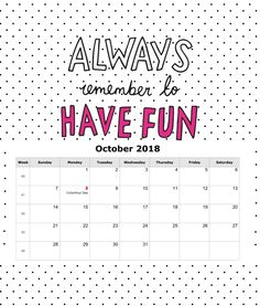 Printable Desk Calendar October 2018