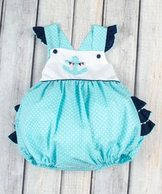 Look at this Aqua Anchor Smocked Ruffle Bubble Bodysuit - Infant & Toddler on #zulily today!