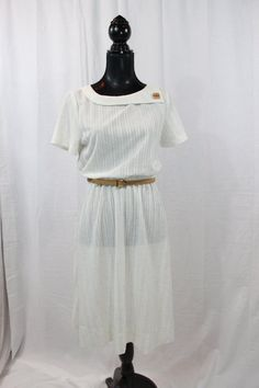 SALE ITEM Vintage Dress white Dress with belt by Ms by myswagshack