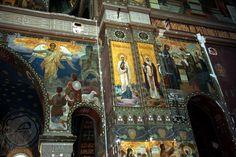 mural icons in St Panteleimon Russian Orthodox Church of Novy Afon Monastery, Abkhazia: Angels Announcing to Shepherds St Nino of Georgia Presentation of Christ