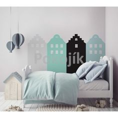 The mint Amsterdam wall stickers are very cute but smart in the same time. Each house is placed on a separate sheet so that you can apply them on your wall in Amsterdam Houses, Pastel Walls, Nursery Neutral, Kids House, Wall Stickers, Kids Room, Etsy, Bedroom, Furniture