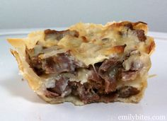 "French Dip ""Cupcakes""-I think I'll have to find a healthier crust idea; perhaps hashbrowns....."