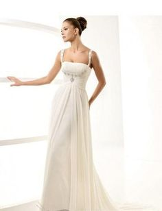 Chiffion Rouched Bodice with Beaded Straps and Slim A line Skirt Hot Sell Wedding Gown WD-0074