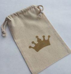 Princess Party Treat Bags: Pink or Gold Glitter Crown Muslin Bags - Princess Favor Bags - Cinderella Favor Bag