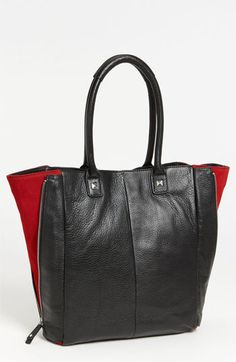 Halogen® Suede Zip Out Leather Tote | Nordstrom, love the punch of color