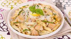 Lemony Penne With Chicken and Artichokes - Recipes - Best Recipes Ever - This decidedly springtime pasta dish comes to life with lemon juice and zest.