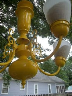 The Big Yellow House: Bird feeder from chandelier. Painted Chandelier, Old Chandelier, Big Yellow, Yellow Houses, Crafts To Do, Yard Art, Bird Houses, Bird Feeders, Outdoor Gardens