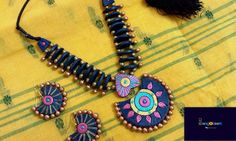 Terracotta Jewellery Designs, Terracota Jewellery, Thread Jewellery, Silk Thread, Washer Necklace, Jewelry Design, Clay, Jewels, Clays
