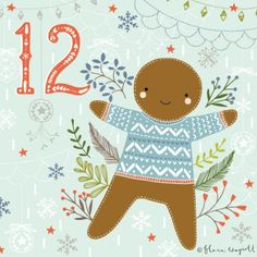 Flora Waycott Christmas Advent 2014 DAY 12 - A happy and cosy (and delicious!) gingerbread person! xx