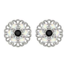 Lucia Costin Sterling Silver Black/ White Earrings