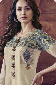 Picture of Cream designer kurti with blue printing Neck Designs For Suits, Dress Neck Designs, Stylish Dress Designs, Designs For Dresses, Saree Blouse Designs, Simple Kurti Designs, Kurta Designs Women, Khadi Kurta, Churidar