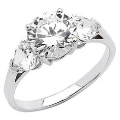 14K White Gold Round-cut 2.25 CTW Equivalent Three Stone CZ Cubic Zirconia Ladies Engagement Rings - Size 5. List Price: $453.10 Savings: $256.10 (57%)