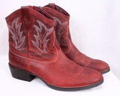 ARIAT Billie Redwood Red Leather Short Cowboy Cowgirl Western Boots Women 11 B #Ariat #CowboyWestern