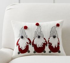 This holiday season, display our Christmas Gnomes Pillow Cover, featuring fine crewel embroidery for touchable texture and coziness. Handcrafted pom-poms adorn this festive accent piece. Pottery Barn Christmas, Christmas Gnome, Christmas Crafts, Christmas Decorations, Holiday Ornaments, Christmas 2019, Christmas Sweets, Christmas Cooking, Christmas Holidays
