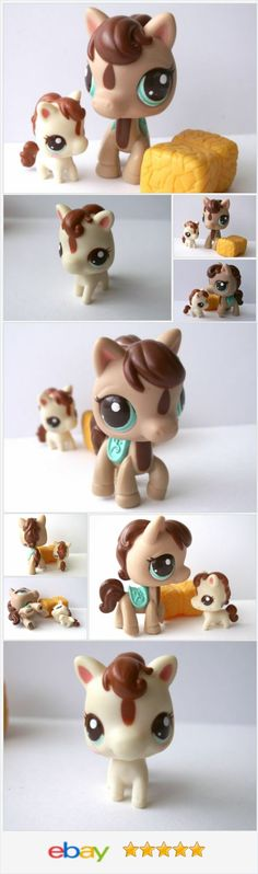Littlest Pet Shop Mommy & Baby HORSE 2666 & 2667 Blue Eyes saddle pony tan brown