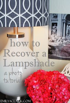 How to Recover a Lampshade: A Photo Tutorial - Emily A. Great idea for updating bargain lamp shades. Craft Projects, Projects To Try, Craft Ideas, Do It Yourself Projects, Photo Tutorial, Lamp Shades, Decoration, Diy Furniture, Vintage Furniture