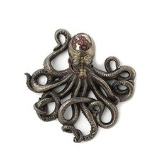 Steampunk Octopus Sculpture Pendant Bronze Finish Hand Made Art Deco Steampunk Statue / SpecificationsWeight kgHeight 28 cm / inchesMaterial Real Bronze Metal/Cold Cast ResinThis collection of statues is breathta. Steampunk Octopus, Bronze, Monster Art, Sculpture, Statue, Make Art, Deco, Accent Colors, Illusions