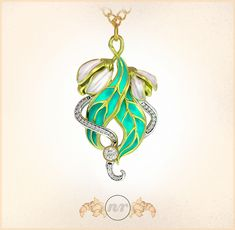 Art Nouveau Leaves & Flowers Pendant, sculpted in ZBrush, rendered in KeyShot by Nacho Riesco.
