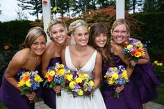 Bright wedding floral colors.  Bridal Party Bouquets. www.lushfloraldesignpdx.com. Photo:Art of Joy Photography. Portland, OR