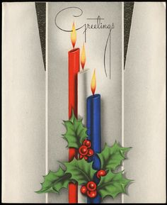 vintage Christmas card<----I love the clean lines and art deco feel!