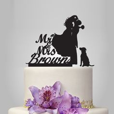 Funny wedding cake topper with dog, Mr&Mrs cake topper, groom and bride wedding cake topper silhouette, personalize Acrylic cake topper by walldecal76 on Etsy https://www.etsy.com/listing/204196951/funny-wedding-cake-topper-with-dog-mrmrs