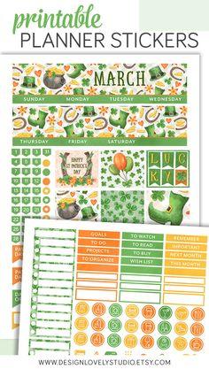 Printable March Planner Stickers Kit Erin Condren