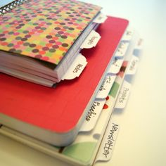 fabric covered tabbed journals