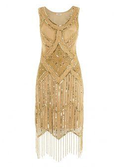 Gatsbylady Isobel Gold Fringe Flapper Dress