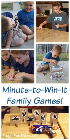Minute to Win It Family Games!  These silly one minute challenges will appeal to a wide variety of ages and use simple materials from around the house.