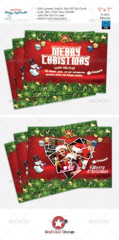 Christmas Postcard Template — Photoshop PSD #xmas #valentine • Available here → https://graphicriver.net/item/christmas-postcard-template/6355997?ref=pxcr