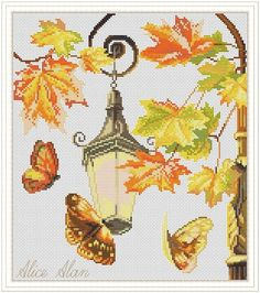Cross Stitch Pattern Butterflies autumn and Street lamp (romantic design) Counted Cross Stitch Pattern/Instant Download Epattern PDF File