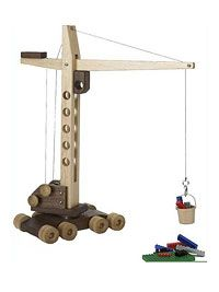 Construction-Grade Mobile Crane Woodworking Plan from WOOD Magazine Kids Woodworking Projects, Woodworking Toys, Popular Woodworking, Woodworking Furniture, Diy Wood Projects, Wood Crafts, Woodworking Equipment, Woodworking Classes, Kids Furniture