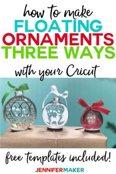 Learn how to make floating ornaments the EASY way with a Cricut. I show you thre… Learn how to make floating ornaments the EASY way with a Cricut. I show you three different ways to do it, including a photo ornament! Glitter Ornaments, Diy Christmas Ornaments, Xmas Crafts, Christmas Projects, Felt Christmas, Cricut Christmas Ideas, Christmas Glitter, Beaded Ornaments, Handmade Ornaments