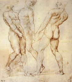 Three Nude Bearers (Pen and Brown Ink over Grey Chalk Outlines with Red Chalk on White Paper) by Raphael Italian Renaissance Art, Renaissance Kunst, High Renaissance, Renaissance Artists, David Hockney, Figure Painting, Figure Drawing, Raphael Paintings, Italian Painters