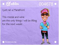 I just ran a Marathon! This medal and wine are the only things I will be lifting for the next week! Running Memes, Running Club, Running Quotes, Running Workouts, Running Training, Running Tips, Marathon Training, Marathon Quotes, Marathon Motivation